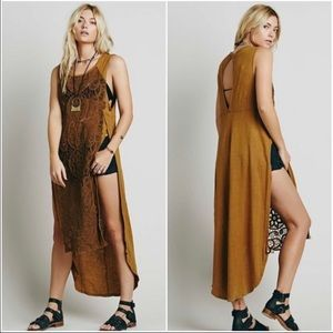 FREE PEOPLE camel Never Enough sheer maxi